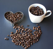 White coffee  mug beans Stock Photography