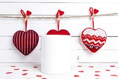 Free White Coffee Mug With Decorative Red Hearts. Space For Text Or D Stock Photos - 107937873