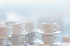 White coffee mugs Stock Photo