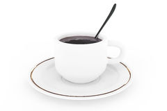 White coffee plate, spoon and cup with coffee Stock Photos