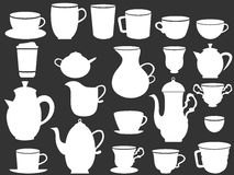 White coffee and tea cups silhouettes Royalty Free Stock Images