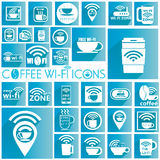 White coffee WIFI icons Royalty Free Stock Images