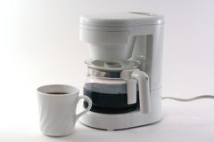 White coffeemaker, cup, isolated Stock Photos