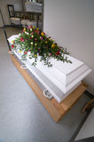 White coffin royalty free stock photography