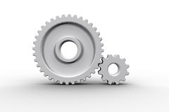 White cog and wheel connecting Stock Images