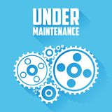 White Cogwheels  on a blue background. Under maintenance website page message. Flat style with long shadows. Modern trendy design. Vector illustration Royalty Free Stock Photography