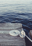 White coiled rope. royalty free stock photo