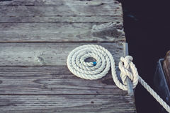 White coiled rope. Royalty Free Stock Images