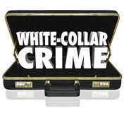 White Collar Crime 3d Words Briefcase Embezzle Fraud Theft. White Collar Crime words in white 3d letters in a black leather briefcase to illustrate professional Stock Photography
