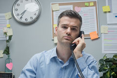 White collar on the phone Stock Photo