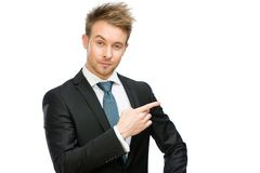 White collar pointing hand gesture Stock Images