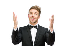 White collar praying with hands up stock photo