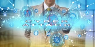 White Collar Professional Launching Cyberattack. Unrecognizable white collar professional launching a cyberattack. IT concept for a computer network incident Royalty Free Stock Images