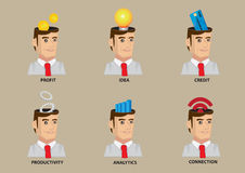 White Collar Worker Conceptual Vector Icon Set Stock Image