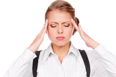 White-collar worker have a headache Royalty Free Stock Images