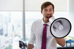 White Collar Worker With Megaphone Fighting For Labor Rights-2 Stock Photography