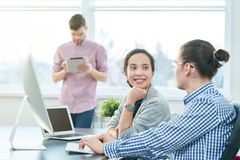 White collar workers chatting stock photo