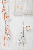 White collection of winter or Christmas decorations Stock Photo