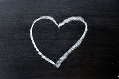 White coloe chalk drawing as heart shape on blackboard background. With copy space royalty free stock image