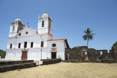 White Colonial Church and Ruins Nordeste Brasil. Typical simple white colonial church with stone ruins in Alcantara Nordeste Brasil stock photos
