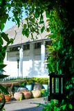 White colonial house with greenery stock photo