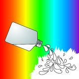 White color. Colorful background with white paint bottle Royalty Free Stock Photos