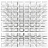 White color abstract infinity background, 3d structure with gray rectangles forming illusion of depth and perspective Stock Photography