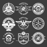 White Color Airplane Emblem Set. With description of air show flying school pilots training vector illustration stock illustration