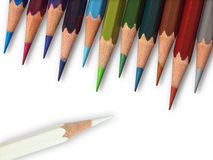 White color and eleven cool tone color pencil Royalty Free Stock Photography