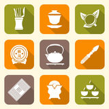 White color flat style chinese tea ceremony equipment icons set Royalty Free Stock Photos