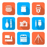 White color flat style square digital photography tools icons Stock Images