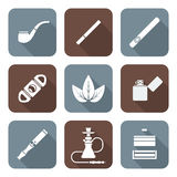 White color flat style various tobacco goods tools icons set Royalty Free Stock Images