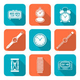 White color flat style various watches clocks icons set Stock Images
