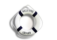 White color Life buoyancy with welcome aboard isolated on white. Background Stock Image
