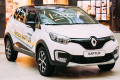 White Color Renault Kaptur Car Is The Subcompact Crossover In Hall Stock Images