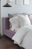 White color theme bedroom design Stock Images
