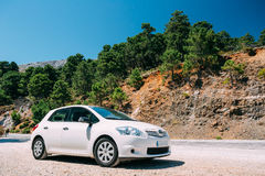 White color Toyota Auris car on Spain nature landscape Royalty Free Stock Photography