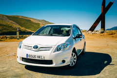 White color Toyota Auris car on Spain nature Stock Images