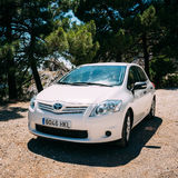 White color Toyota Auris car on Spain nature Royalty Free Stock Image