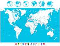 White color World Map and navigation icons highly detailed illus. White color World Map and navigation icons. Highly detailed map illustration with countries stock illustration