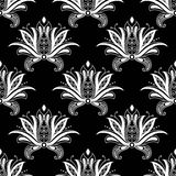 White colored floral arabesque seamless pattern Stock Images
