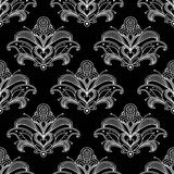 White colored floral paisley seamless pattern Stock Image