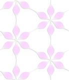 White colored paper floral pink six pedal flowers. Abstract seamless background with 3D cut out of paper effect. Pattern with realistic shadow. Modern texture Stock Image