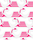White colored paper magenta striped waves. Abstract seamless background with 3D cut out of paper effect. Pattern with realistic shadow. Modern texture. Stylish Royalty Free Stock Images