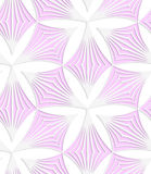 White colored paper pink pointy trefoils. Abstract seamless background with 3D cut out of paper effect. Pattern with realistic shadow. Modern texture. Stylish Stock Photography
