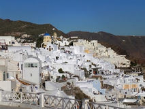White colored Traditional style architecture over the caldera of Santorini island Stock Photos
