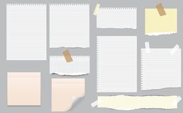 White and colorful note, notebook paper with torn edges stuck on gray background. Pink sheets of note papers, sticky notes royalty free illustration