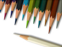 White and Colorful pencil on white background Stock Photos