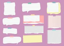 White, colorful ripped lined note, notebook paper strips, speech bubble for text or message stuck with sticky tape on. Violet background Stock Image
