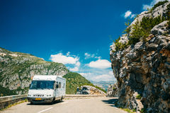 White colour Hymer motorhome car on background of French mountain Stock Photo